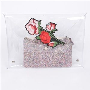 Clear Rose Embroidery Envelope Clutch